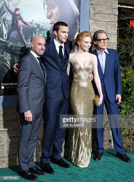Actors Stanley Tucci Nicholas Hoult Eleanor Tomlinson and Bill Nighy attend the premiere of New Line Cinema's 'Jack The Giant Slayer' at TCL Chinese...