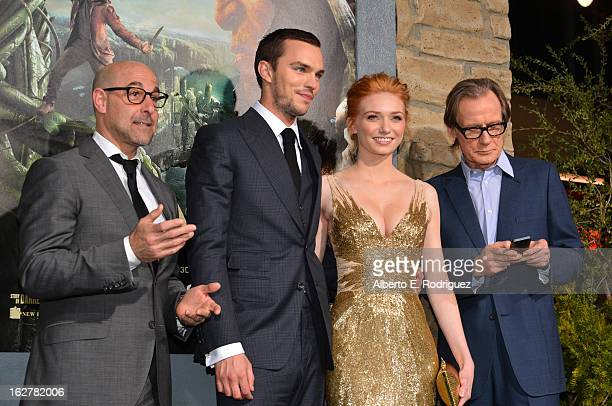 Actors Stanley Tucci Nicholas Hoult Eleanor Tomlinson and Bill Nighy attend the premiere of New Line Cinema's Jack The Giant Slayer at TCL Chinese...