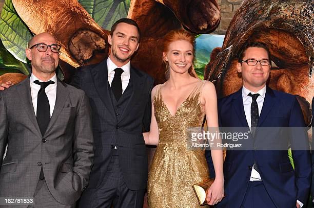 Actors Stanley Tucci Nicholas Hoult Eleanor Tomlinson and director Bryan Singe attend the premiere of New Line Cinema's Jack The Giant Slayer at TCL...