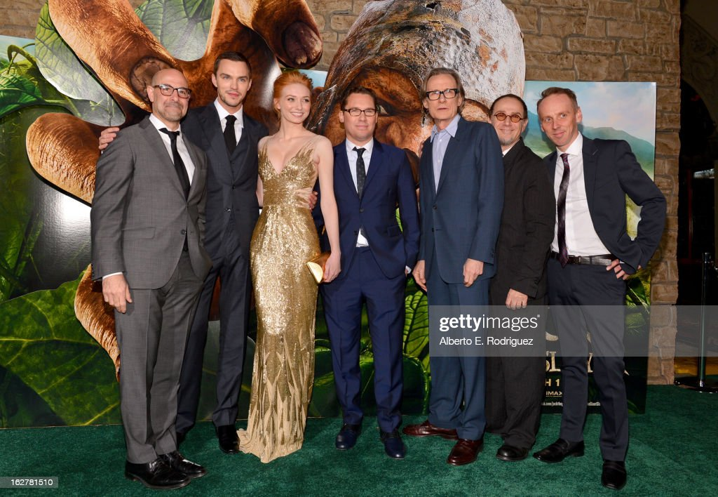 Actors Stanley Tucci, Nicholas Hoult, Eleanor Tomlinson, director Bryan Singer, actors Bill Nighy, John Kassir, and Ewen Bremner attend the premiere of New Line Cinema's 'Jack The Giant Slayer' at TCL Chinese Theatre on February 26, 2013 in Hollywood, California.