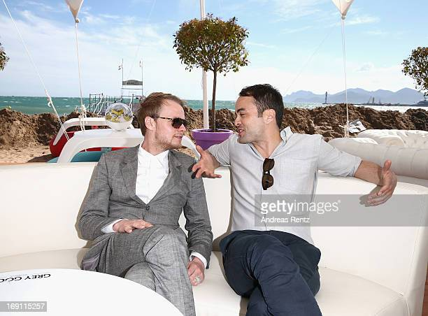 Actors Stefan Konarske and Nikolai Kinski attend the Medienboard reception during the 66th Annual Cannes Film Festival at La Plage 45 on May 20 2013...