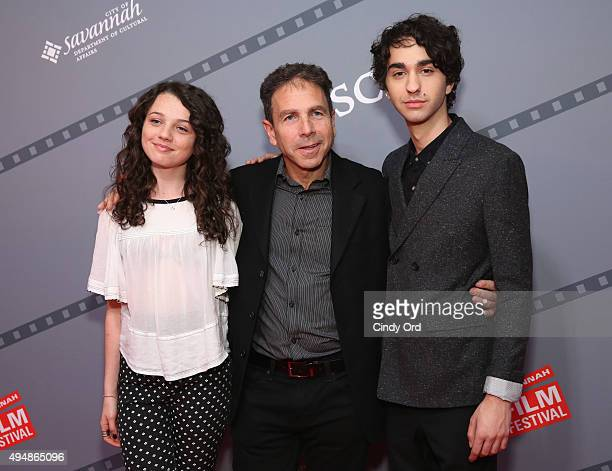 Actors Stefania LaVie Owen James Steven Sadwith and Alex Wolff pose for a photo together prior to QA for Coming Through the Rye at Lucas Theatre...