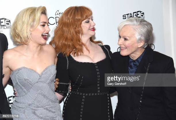Actors Stefanie Martini Christina Hendricks and Glenn Close attend the 'Crooked House' New York premiere at Metrograph on December 13 2017 in New...
