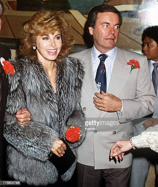 Actors Stefanie Powers and Robert Wagner during a 'Cheek to Cheek Hart to Heart' Benefit on the Queen Mary in Los Angeles California United States...