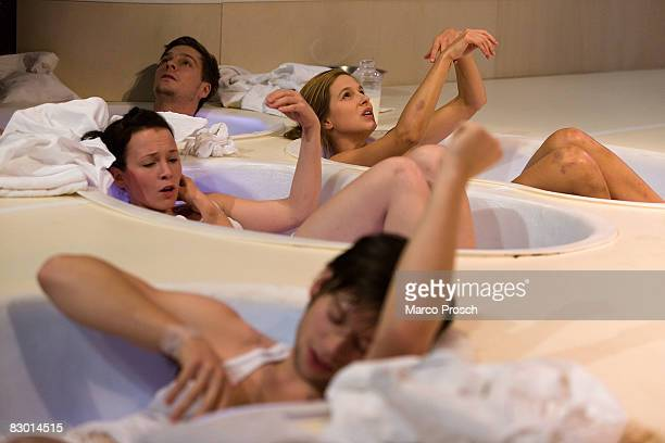 Actors Stefanie Roesner Matthias Faust Benjamin Berger and Lisa Bitter perform at the rehearsel of 'Feuchtgebiete' based on the book by Charlotte...