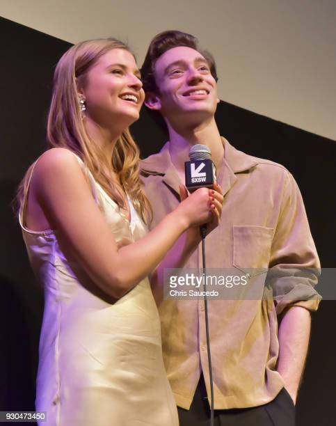 Actors Stefanie Scott and Theodore Pellerin speak onstage at the premiere of 'First Light' during SXSW at Alamo Lamar on March 10 2018 in Austin Texas