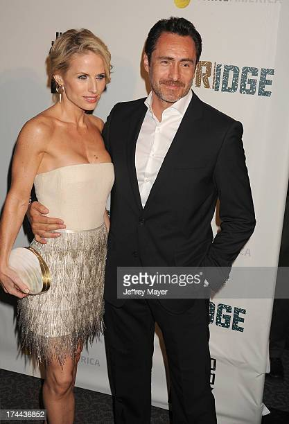 Actors Stefanie Sherk and Demian Bichir arrive at the Series Premiere Of FX's 'The Bridge' at DGA Theater on July 8 2013 in Los Angeles California