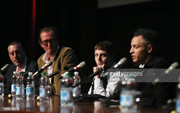 Actors Stefano Rabatti and Nader Sarhan speak during the Ali Ha Gli Occhi Azzurri Press Conference during the 7th Rome Film Festival at the...