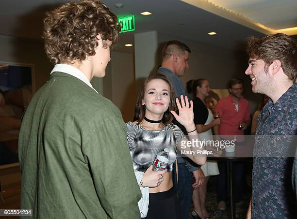 Actors Steffan Argus Alexis G Zall and Shane Dawson attend ABC Digital's This Isn't Working screening at UTA on September 13 2016 in Beverly Hills...