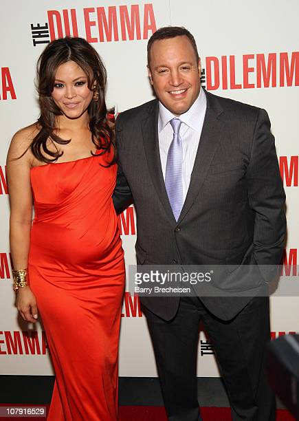 Actors Steffiana de la Cruz and Kevin James attend the world premiere of The Dilemma at AMC River East Theater on January 6 2011 in Chicago Illinois