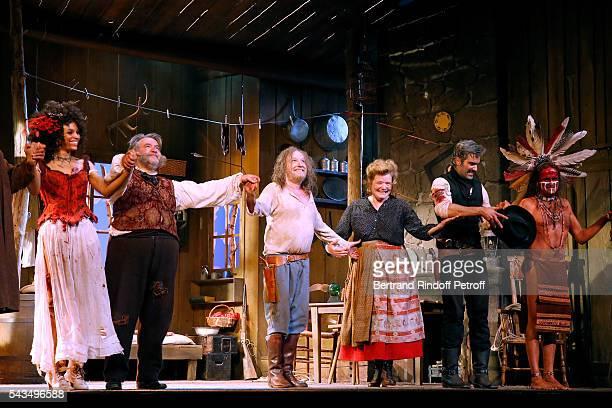 Actors Stefi Celma, Urbain Cancelier, Francois Berleand, Anne Benoit, Francois Vincentelli and Lionel Abelanski acknowledge the applause of the...