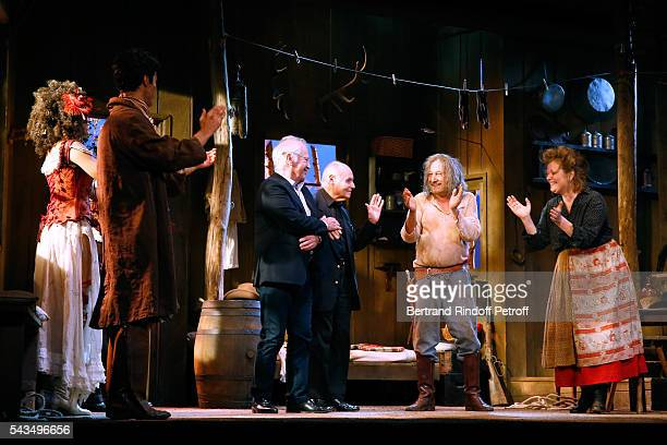 """Actors Stefi Celma, Valentin de Carbonnieres, Stage Director of the Piece, Bernard Murat, Member of """"Academie francaise"""" and autor of the Piece, Rene..."""