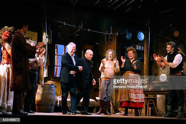 "Actors Stefi Celma, Valentin de Carbonnieres, Stage Director of the Piece, Bernard Murat, Member of ""Academie francaise"" and autor of the Piece, Rene..."