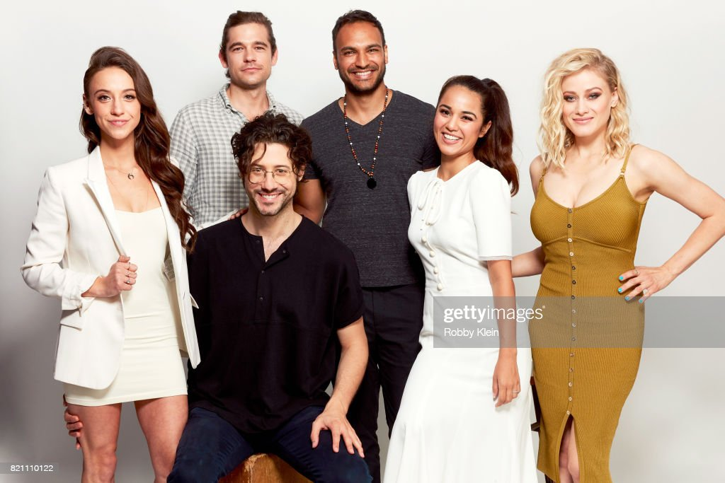 Actors Stella Maeve, Jason Ralph, Hale Appleman, Arjun Gupta, Summer Bishil, and Olivia Dudley from Syfy's 'The Magicians' pose for a portrait during Comic-Con 2017 at Hard Rock Hotel San Diego on July 22, 2017 in San Diego, California.