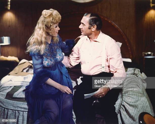 Actors Stella Stevens as Linda Rogo and Ernest Borgnine as Detective Lieutenant Mike Rogo in a scene from the disaster film 'The Poseidon Adventure'...