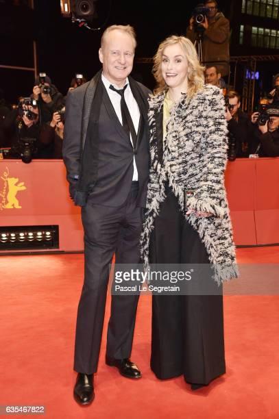 Actors Stellan Skarsgard and Nina Hoss attend the 'Return to Montauk' premiere during the 67th Berlinale International Film Festival Berlin at...