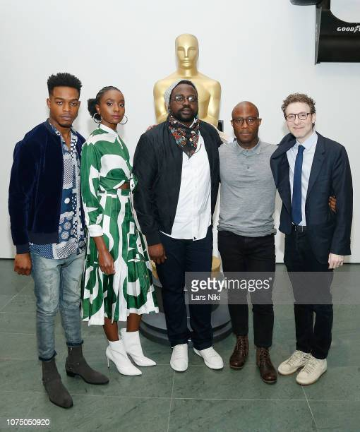 Actors Stephan James KiKi Layne Brian Tyree Henry writer director and producer Barry Jenkins and composer Nicholas Britell attend The Academy of...