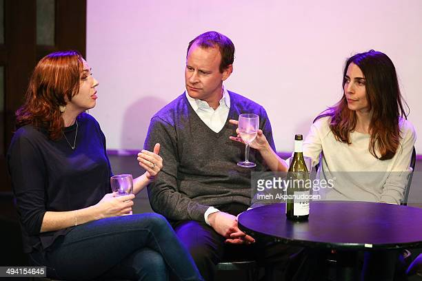 Actors Stephanie Courtney, Larry Dorf and Rachel Ramras perform onstage at The Groundlings Theatre's celebration of their 40th Anniversary with...