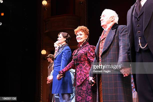 Actors Stephanie J Block Chita Rivera and Jim Norton come out for a curtain call during the 'The Mystery Of Edwin Drood' Broadway Opening Night at...