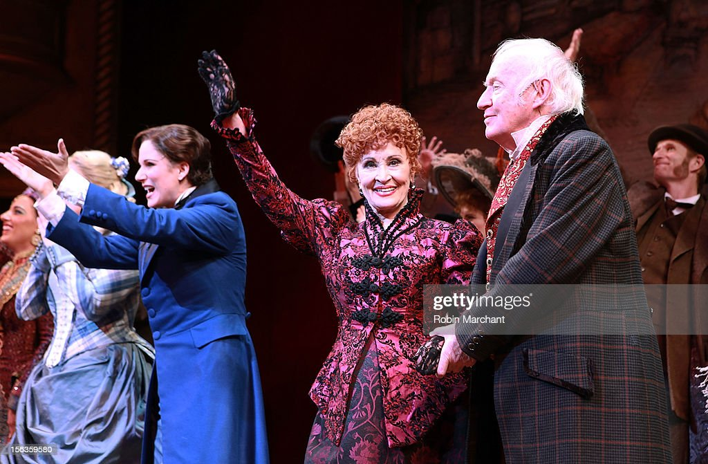 Actors (L - R) Stephanie J. Block, Chita Rivera and Jim Norton come out for a curtain call during the 'The Mystery Of Edwin Drood' Broadway Opening Night at Roundabout Theatre Company's Studio 54 on November 13, 2012 in New York City.