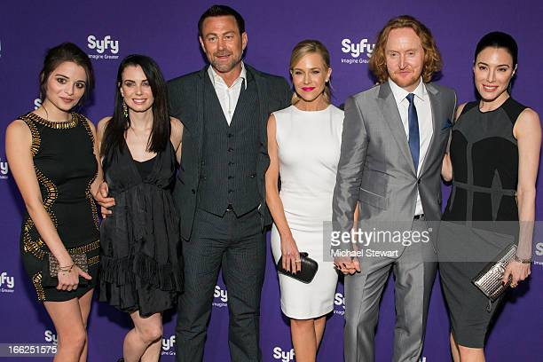 Actors Stephanie Leonidis Mia Kirshner Grant Bowler Julie Benz Tony Curran and Jaime Murray attends the 2013 Syfy Upfront at Silver Screen Studios at...