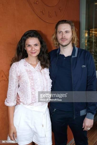 Actors Stephanie Pasperkamp and JeanBaptiste Shelmerdine attend the 2018 French Open Day Ten at Roland Garros on June 5 2018 in Paris France