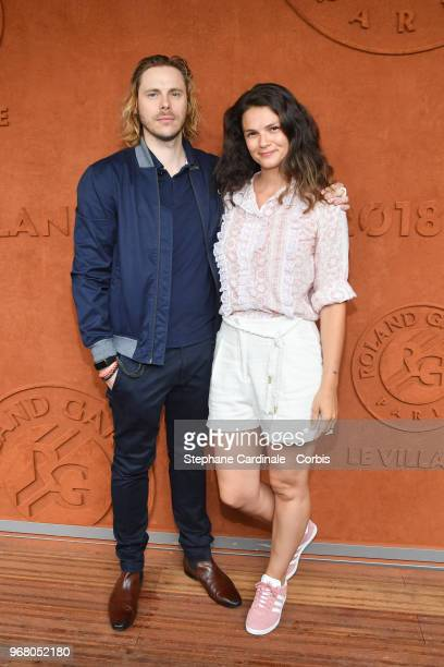 Actors Stephanie Pasperkamp and Jean-Baptiste Shelmerdine attend the 2018 French Open - Day Ten at Roland Garros on June 5, 2018 in Paris, France.