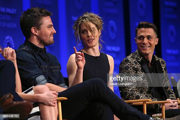 Actors Stephen Amell Emily Bett Rickards and Colton Haynes appear on stage during the Arrow The Flash event at The Paley Center For Media's 32nd...