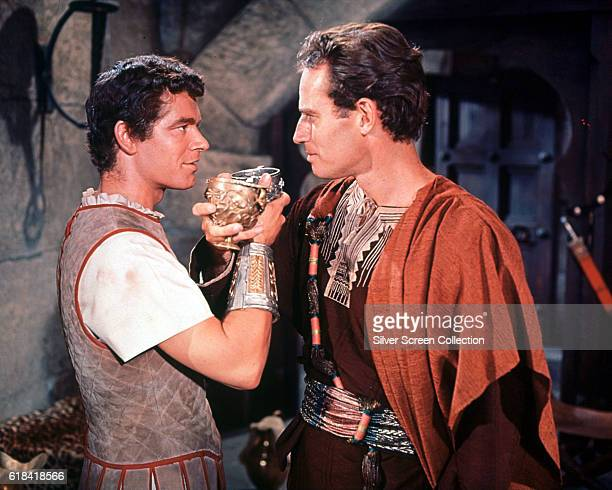 Actors Stephen Boyd as Messala and Charlton Heston as Judah Ben-Hur in a scene from the historical epic 'Ben-Hur', 1959.