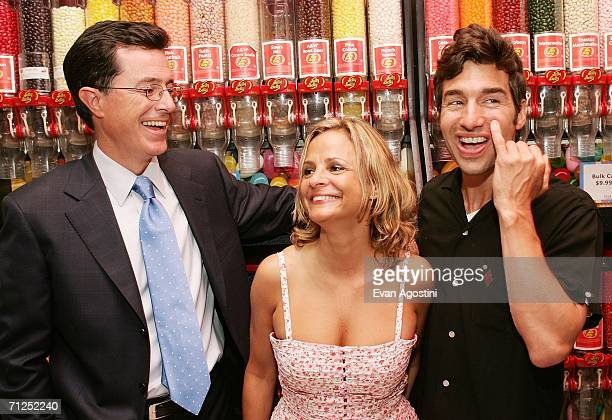Actors Stephen Colbert and Amy Sedaris pose with writer/director/actor Paul Dinello at the 'Strangers With Candy' premiere after party at Dylan's...