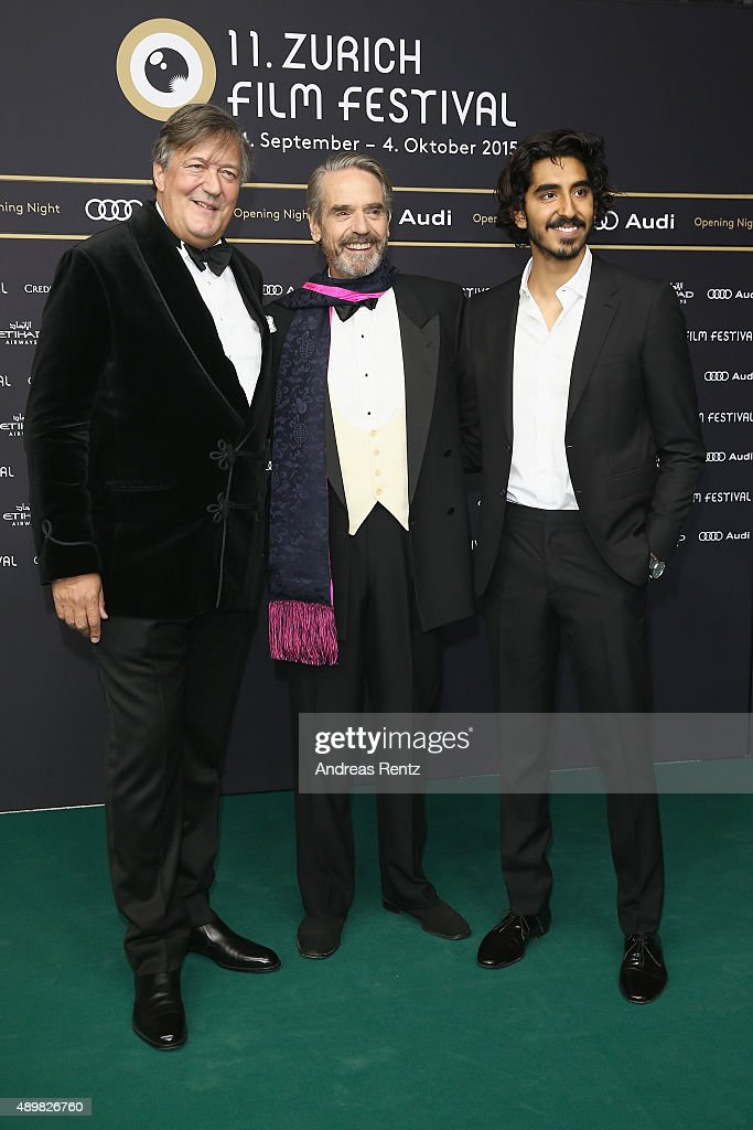 Actors Stephen Fry, Jeremy Irons and Dev Patel attend the 'The Man Who Knew Infinity' Premiere And Opening Ceremony during the Zurich Film Festival on September 24, 2015 in Zurich, Switzerland. The 11th Zurich Film Festival will take place from September 23 until October 4.