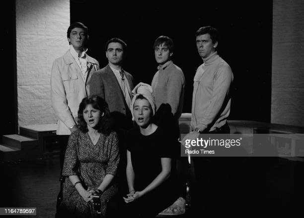 Actors Stephen Fry, Tony Slattery, Paul Shearer, Hugh Laurie, Emma Thompson and Penny Dwyer in the BBC television show 'The Cambridge Footlights...