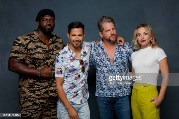 Actors Stephen Hill Jay Hernandez Zachary Knighton and Perdita Weeks from 'Magnum PI' are photographed for Los Angeles Times on July 19 2018 in San...