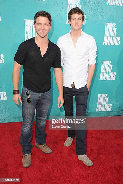 Actors Stephen Lunsford and Daniel Sharman arrive at the 2012 MTV Movie Awards at Gibson Amphitheatre on June 3 2012 in Universal City California