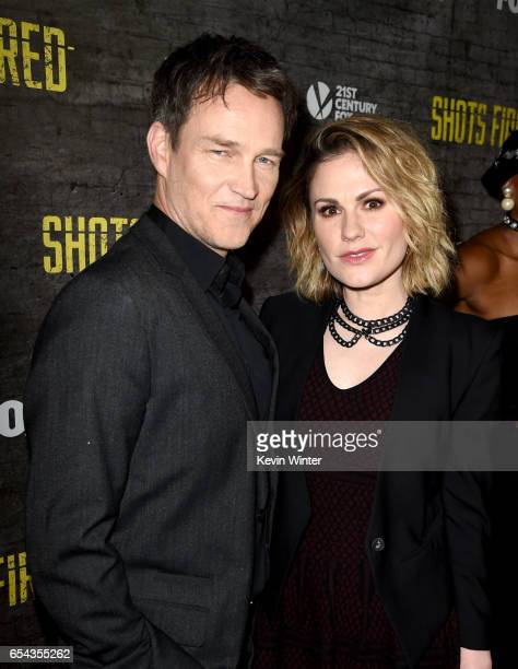 Actors Stephen Moyer and Anna Paquin arrive at a screening and QA for FOX TV's 'Shots Fired' at the Pacific Design Center on March 16 2017 in West...