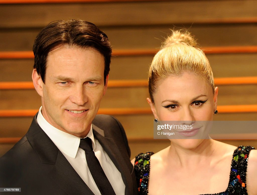 Actors Stephen Moyer and Anna Paquin arrive at the 2014 Vanity Fair Oscar Party Hosted By Graydon Carter on March 2, 2014 in West Hollywood, California.