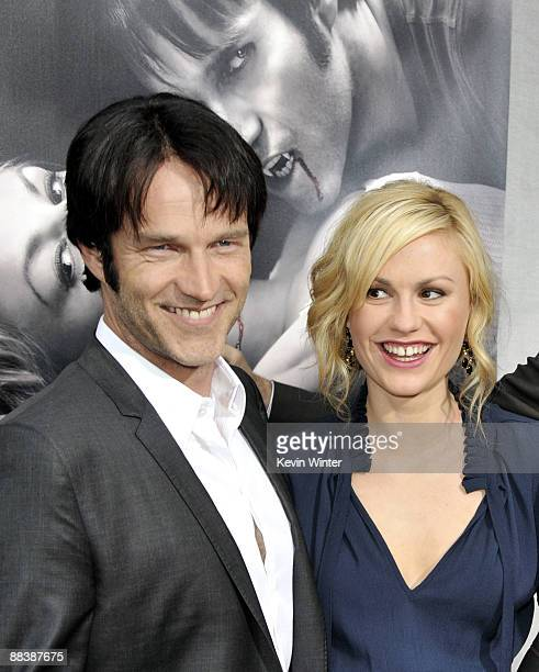 """Actors Stephen Moyer and Anna Paquin arrive at the premiere of the 2nd season of HBO's """"True Blood"""" at the Paramount Theater on June 9, 2009 in Los..."""