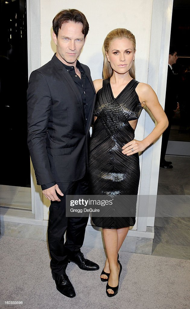 Actors Stephen Moyer and Anna Paquin arrive at the Tom Ford cocktail party in support of Project Angel Food at TOM FORD on February 21, 2013 in Beverly Hills, California.