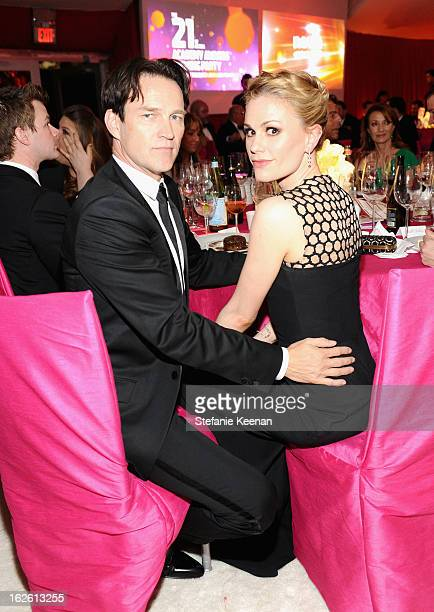 Actors Stephen Moyer and Anna Paquin attend Chopard at 21st Annual Elton John AIDS Foundation Academy Awards Viewing Party at West Hollywood Park on...