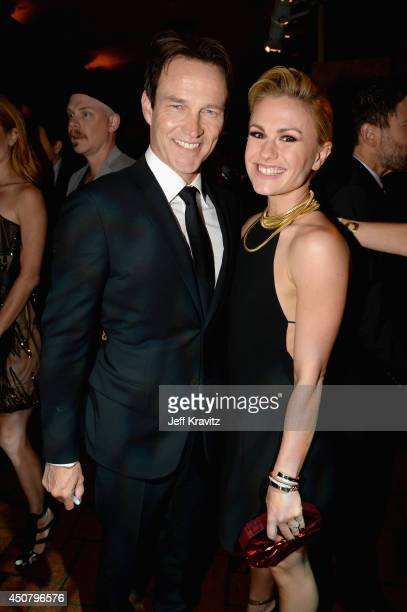 Actors Stephen Moyer and Anna Paquin attend HBO 'True Blood' season 7 premiere after party at Hollywood Roosevelt Hotel on June 17 2014 in Hollywood...