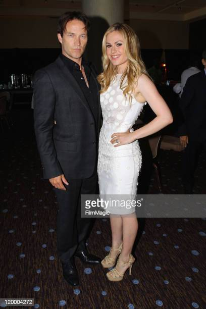 Actors Stephen Moyer and Anna Paquin attend HBO's TCA Panel during the 2011 Summer TCA Tour at the Beverly Hilton on July 28, 2011 in Beverly Hills,...
