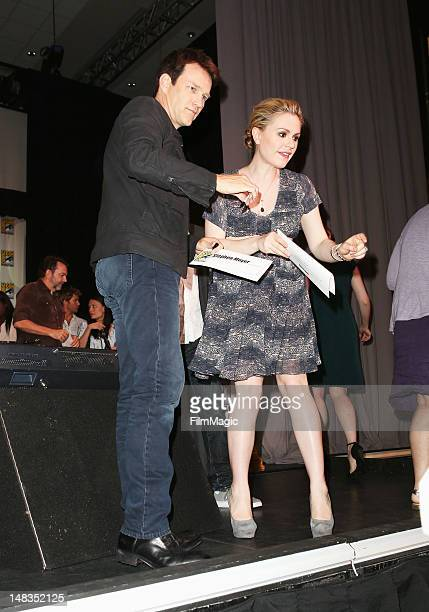 Actors Stephen Moyer and Anna Paquin attend HBO's 'True Blood' during ComicCon International 2012 at San Diego Convention Center on July 14 2012 in...