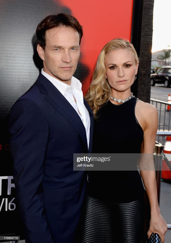 Actors Stephen Moyer and Anna Paquin attend HBO's 'True Blood' season 6 premiere at ArcLight Cinemas Cinerama Dome on June 11, 2013 in Hollywood, California.
