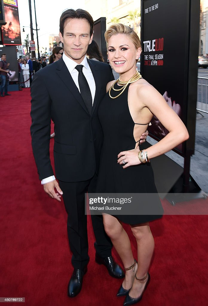 Actors Stephen Moyer (L) and Anna Paquin attend Premiere Of HBO's 'True Blood' Season 7 And Final Season at TCL Chinese Theatre on June 17, 2014 in Hollywood, California.