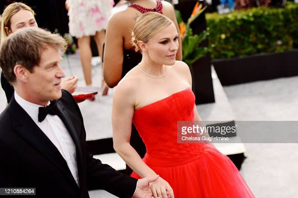 Actors Stephen Moyer and Anna Paquin attend the 26th annual Screen ActorsGuild Awards at The Shrine Auditorium on January 19 2020 in Los Angeles...