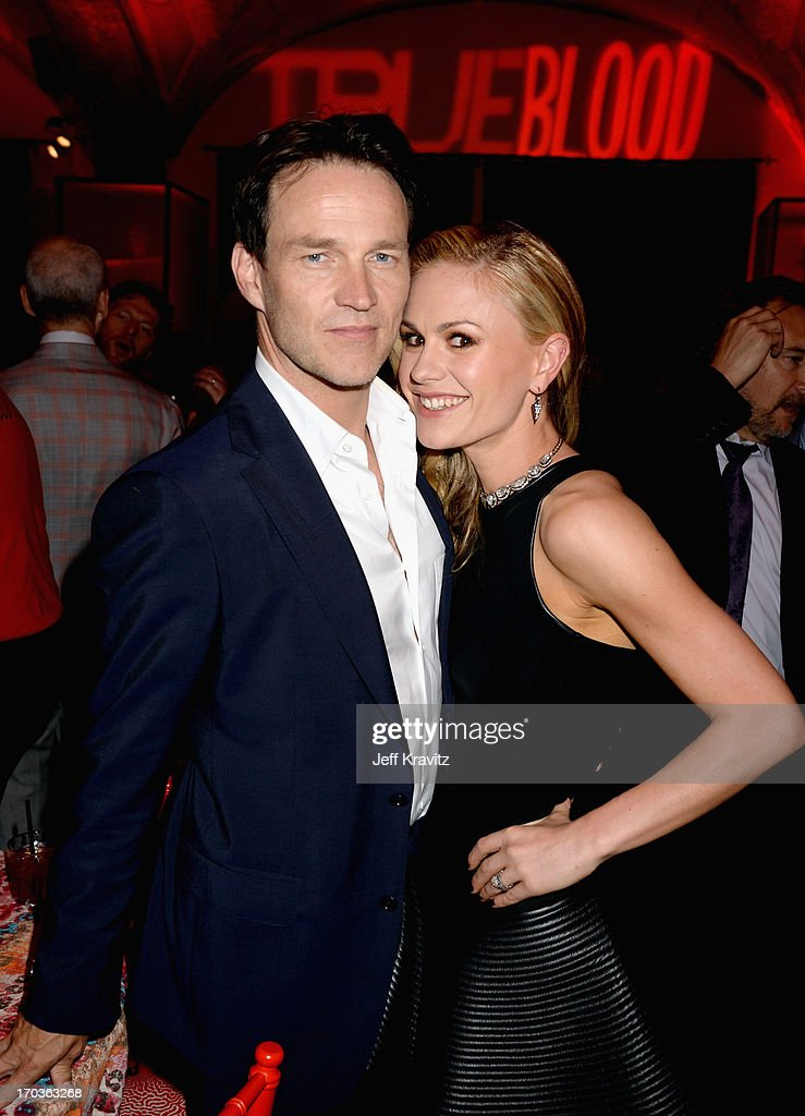 Actors Stephen Moyer and Anna Paquin attend the after party for HBO's 'True Blood' season 6 premiere at Boulevard3 on June 11, 2013 in Hollywood, California.