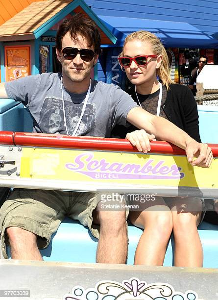 Actors Stephen Moyer and Anna Paquin attend the MakeAWish Foundation's Day of Fun hosted by Kevin Steffiana James held at Santa Monica Pier on March...