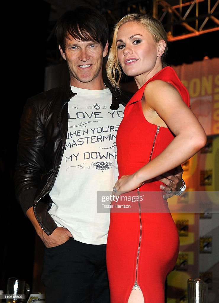 Actors Stephen Moyer and Anna Paquin speak at HBO's 'True Blood' Panel during Comic-Con 2011 and the San Diego Convention Center on July 22, 2011 in San Diego, California.