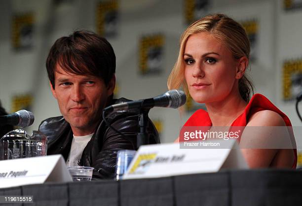 Actors Stephen Moyer and Anna Paquin speak at HBO's True Blood Panel during ComicCon 2011 and the San Diego Convention Center on July 22 2011 in San...