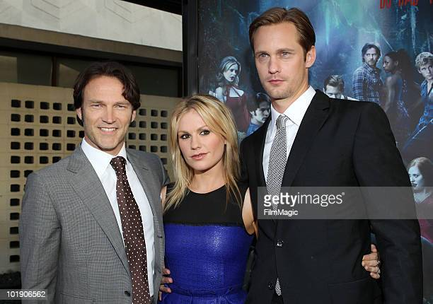 Actors Stephen Moyer Anna Paquin and Alexander Skarsgard arrive at HBO's True Blood Season 3 premiere held at ArcLight Cinemas Cinerama Dome on June...